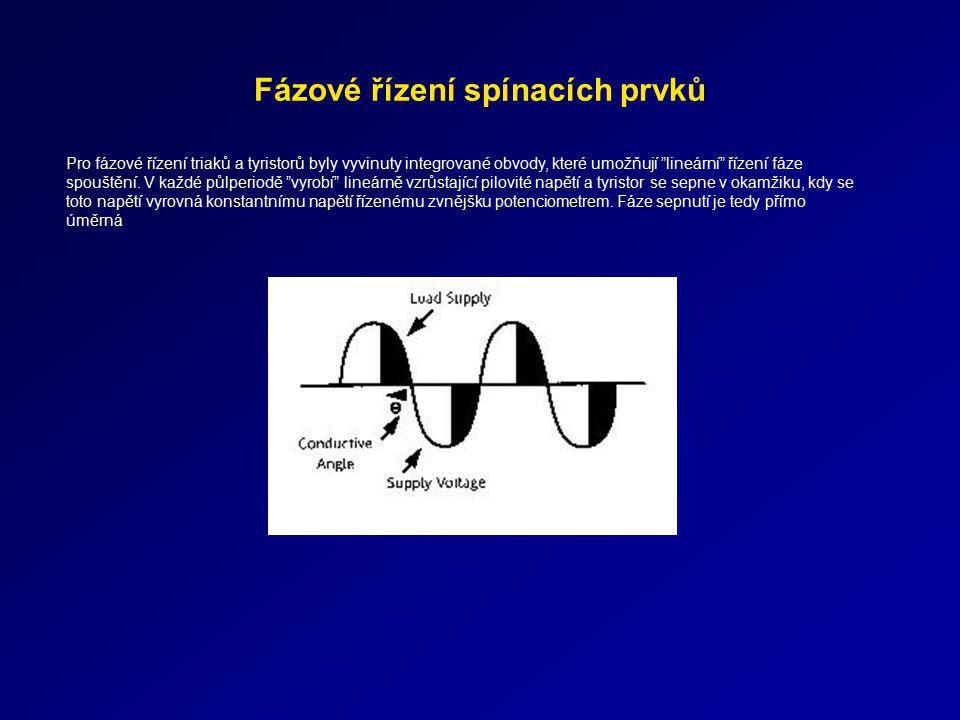 """Fázové řízení spínacích prvků Pro fázové řízení triaků a tyristorů byly vyvinuty integrované obvody, které umožňují """"lineární"""" řízení fáze spouštění."""