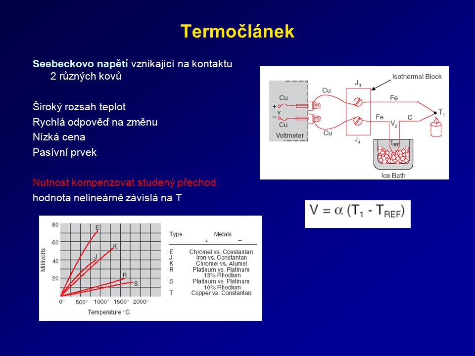Termočlánek Seebeckovo napětí vznikající na kontaktu 2 různých kovů Široký rozsah teplot Rychlá odpověď na změnu Nízká cena Pasívní prvek Nutnost komp