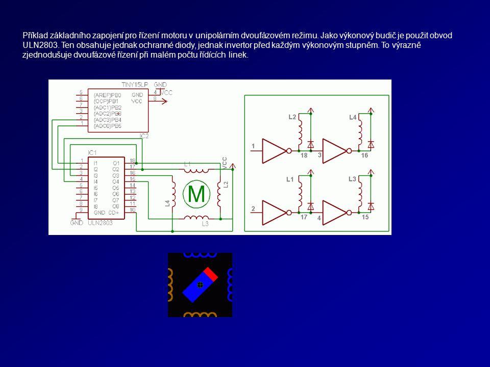 Příklad základního zapojení pro řízení motoru v unipolárním dvoufázovém režimu. Jako výkonový budič je použit obvod ULN2803. Ten obsahuje jednak ochra