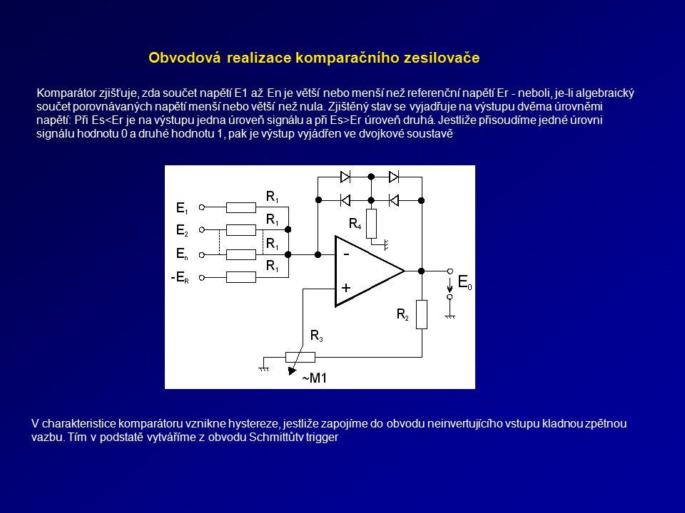 Obvodová realizace komparačního zesilovače Komparátor zjišťuje, zda součet napětí E1 až En je větší nebo menší než referenční napětí Er - neboli, je-l