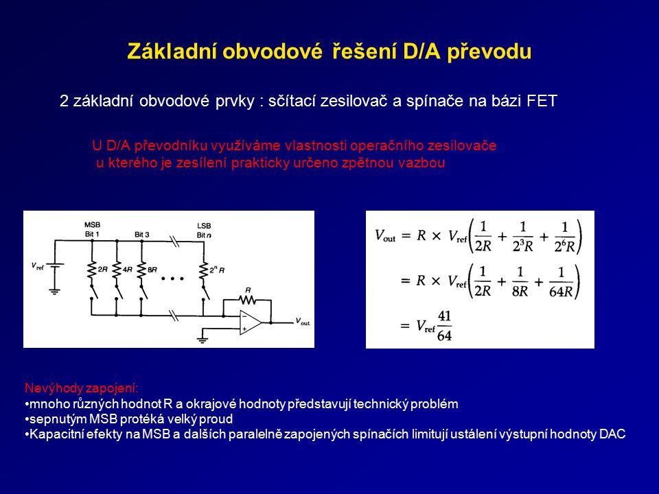Základní obvodové řešení D/A převodu 2 základní obvodové prvky : sčítací zesilovač a spínače na bázi FET Nevýhody zapojení: mnoho různých hodnot R a o