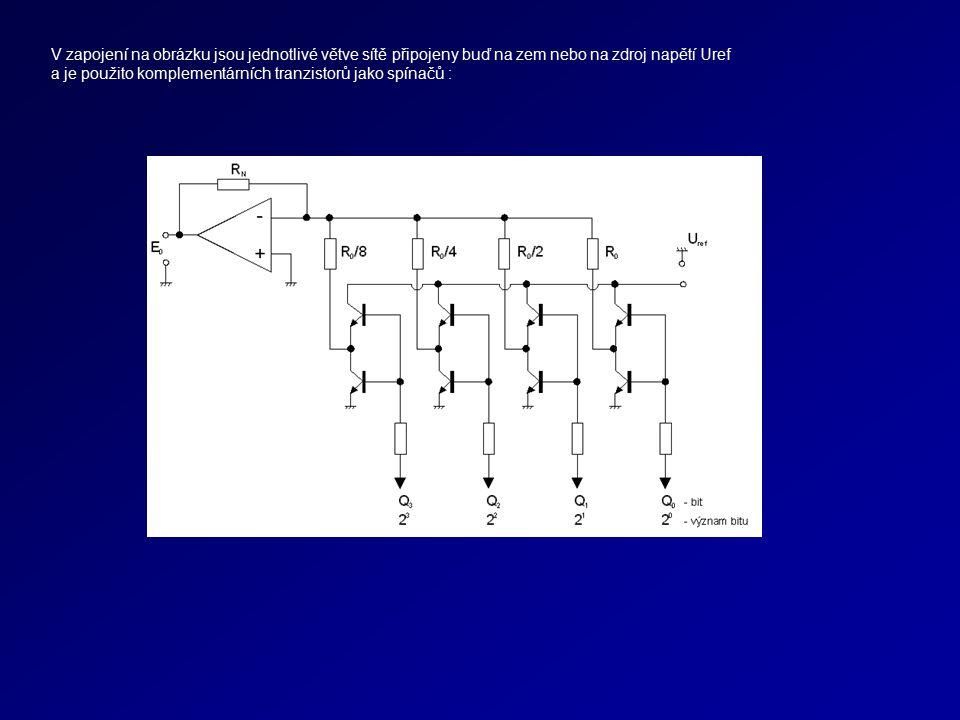 V zapojení na obrázku jsou jednotlivé větve sítě připojeny buď na zem nebo na zdroj napětí Uref a je použito komplementárních tranzistorů jako spínačů