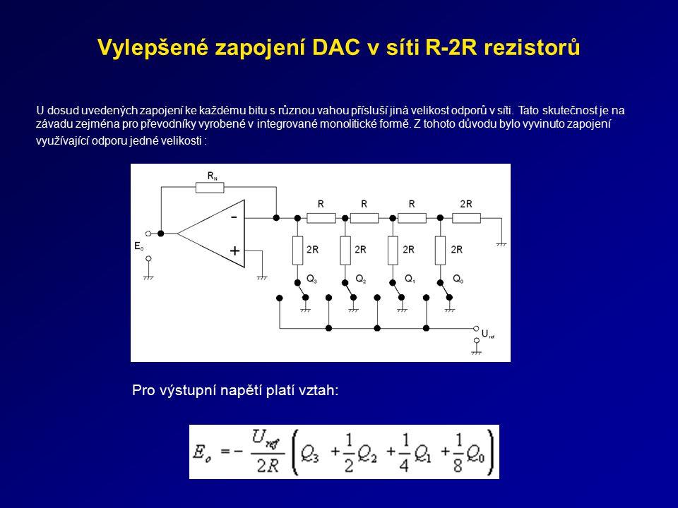 Vylepšené zapojení DAC v síti R-2R rezistorů Pro výstupní napětí platí vztah: U dosud uvedených zapojení ke každému bitu s různou vahou přísluší jiná