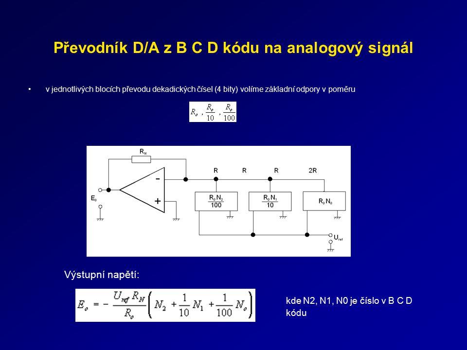 Převodník D/A z B C D kódu na analogový signál v jednotlivých blocích převodu dekadických čísel (4 bity) volíme základní odpory v poměru Výstupní napě
