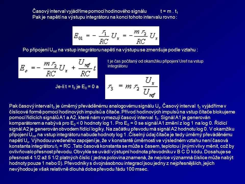 Časový interval vyjádříme pomocí hodinového signálu t = m. t 1 Pak je napětí na výstupu integrátoru na konci tohoto intervalu rovno : Po připojení U r