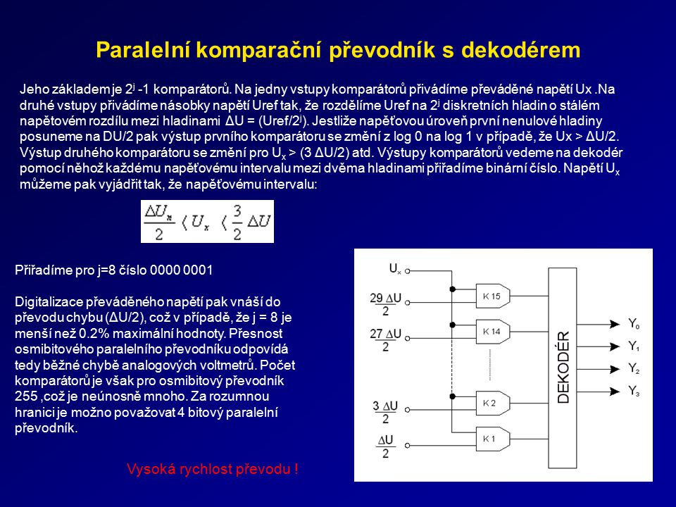 Paralelní komparační převodník s dekodérem Jeho základem je 2 j -1 komparátorů. Na jedny vstupy komparátorů přivádíme převáděné napětí Ux.Na druhé vst