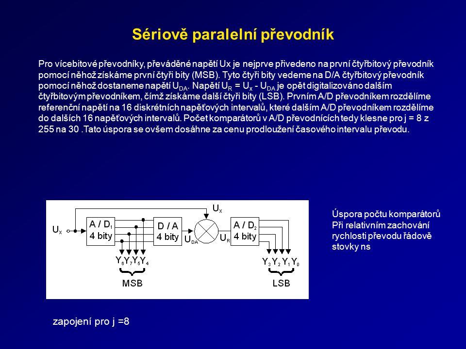 Sériově paralelní převodník Úspora počtu komparátorů Při relativním zachování rychlosti převodu řádově stovky ns Pro vícebitové převodníky, převáděné