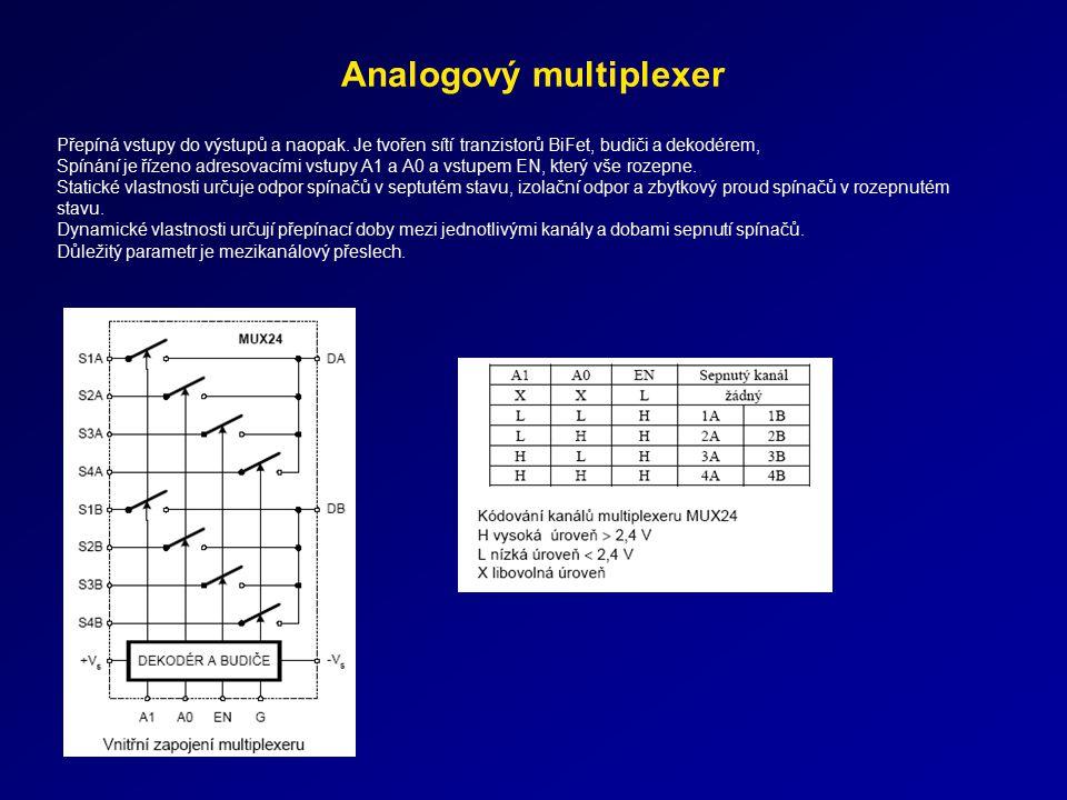 Analogový multiplexer Přepíná vstupy do výstupů a naopak. Je tvořen sítí tranzistorů BiFet, budiči a dekodérem, Spínání je řízeno adresovacími vstupy