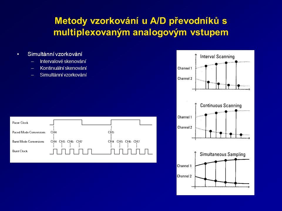 Metody vzorkování u A/D převodníků s multiplexovaným analogovým vstupem Simultánní vzorkování –Intervalové skenování –Kontinuální skenování –Simultánn