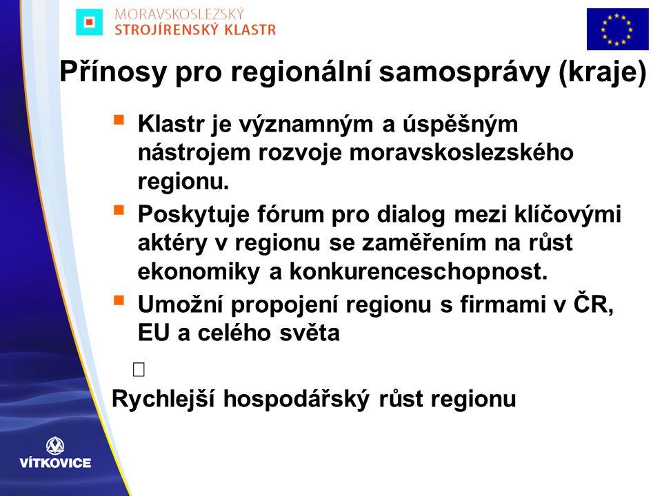 Přínosy pro regionální samosprávy (kraje)  Klastr je významným a úspěšným nástrojem rozvoje moravskoslezského regionu.  Poskytuje fórum pro dialog m