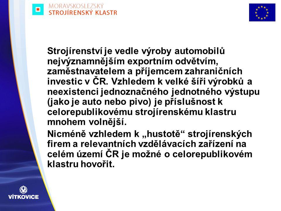Strojírenství je vedle výroby automobilů nejvýznamnějším exportním odvětvím, zaměstnavatelem a příjemcem zahraničních investic v ČR. Vzhledem k velké