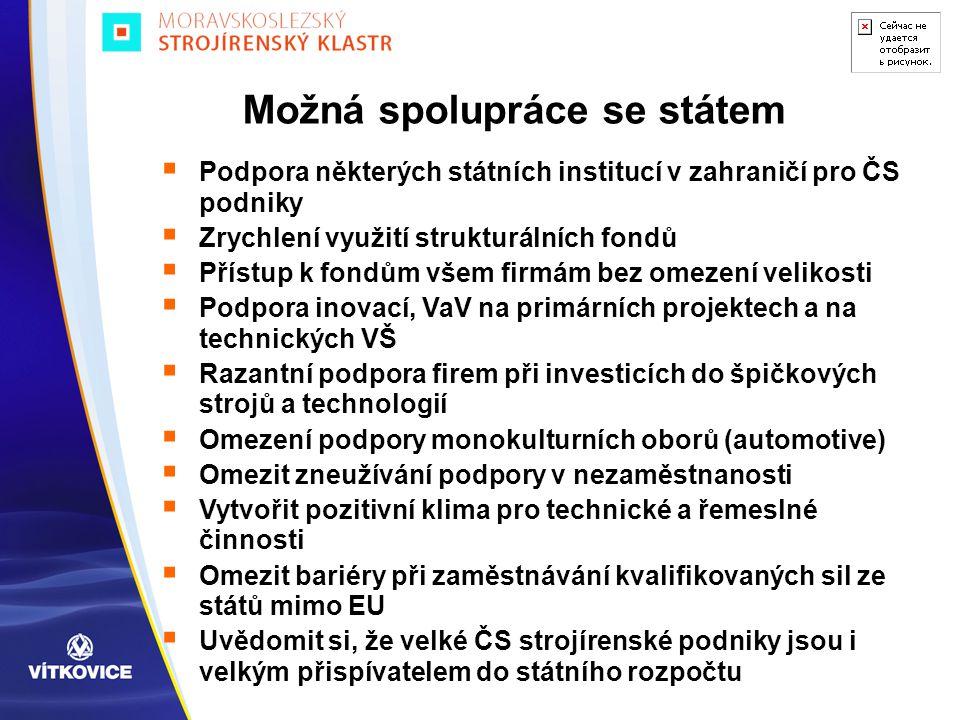  Podpora některých státních institucí v zahraničí pro ČS podniky  Zrychlení využití strukturálních fondů  Přístup k fondům všem firmám bez omezení