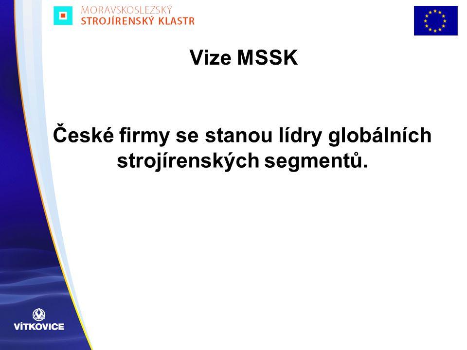 Cíle MSSK  Ve speciálních strojírenských oborech umožnit českým firmám být globálními hráči  Pozvednout strojírenství na poli inovací, vědy a výzkumu, rozvoje lidských zdrojů a vzdělávání.