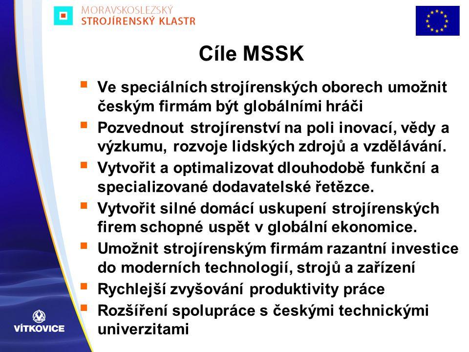 Cíle MSSK  Ve speciálních strojírenských oborech umožnit českým firmám být globálními hráči  Pozvednout strojírenství na poli inovací, vědy a výzkum