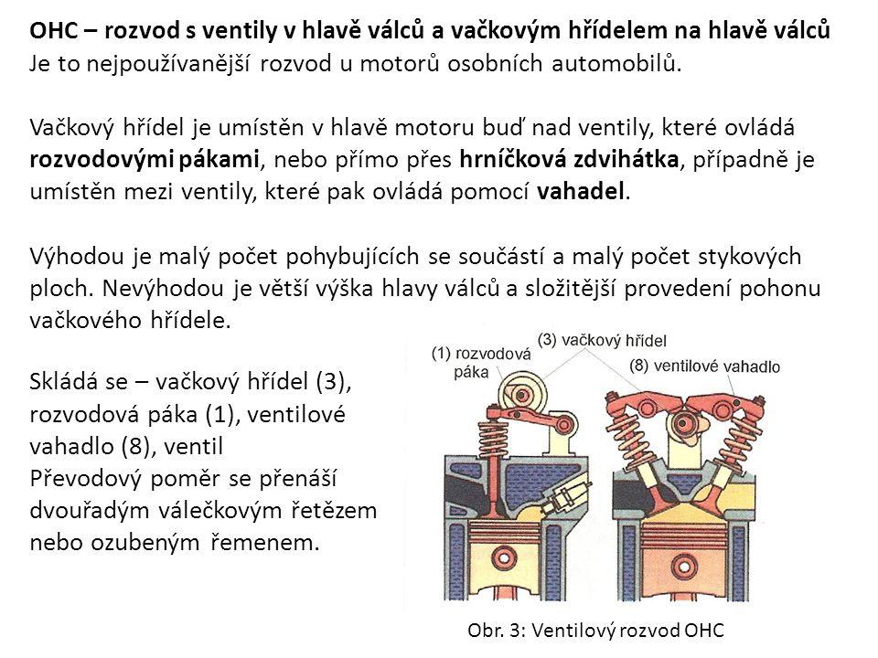 OHC – rozvod s ventily v hlavě válců a vačkovým hřídelem na hlavě válců Je to nejpoužívanější rozvod u motorů osobních automobilů. Vačkový hřídel je u