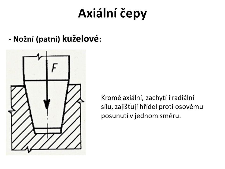 Axiální čepy - Nožní (patní) kuželové : Kromě axiální, zachytí i radiální sílu, zajišťují hřídel proti osovému posunutí v jednom směru.