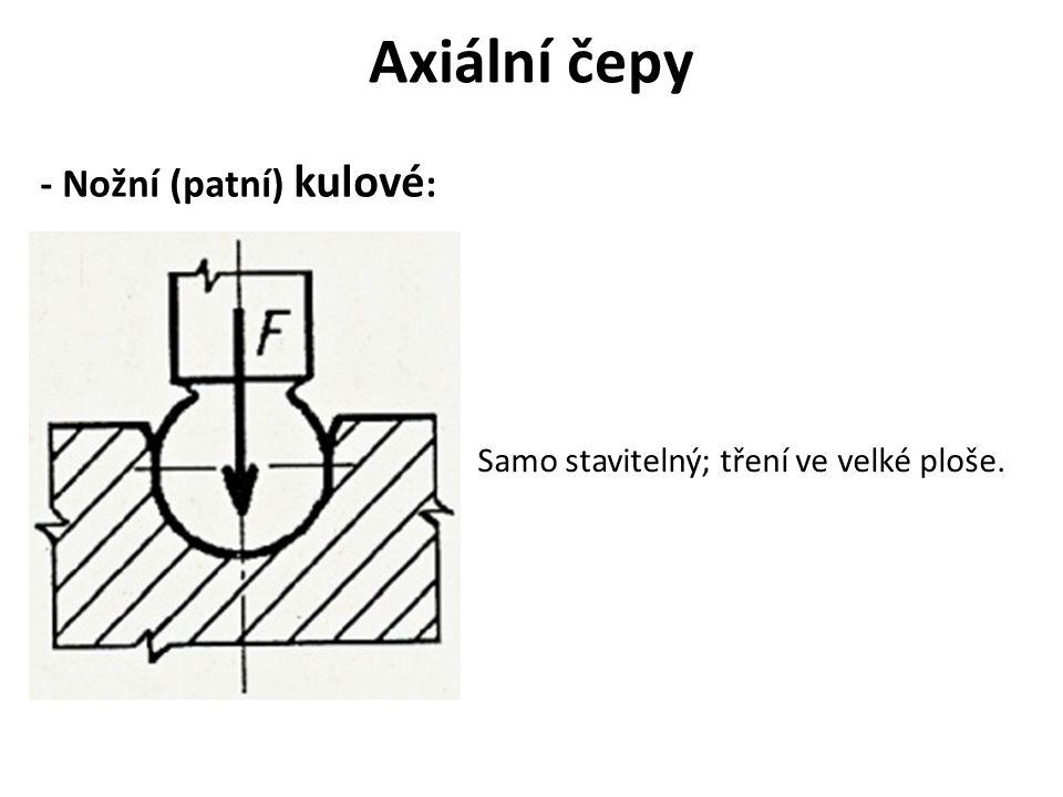 Axiální čepy - Nožní (patní) kulové : Samo stavitelný; tření ve velké ploše.