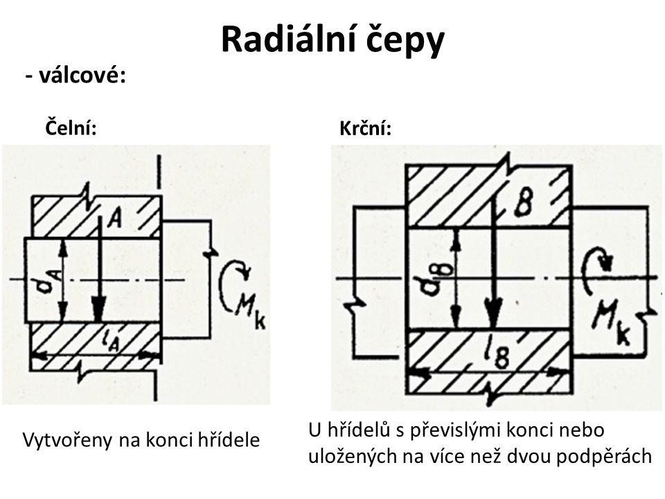 Radiální čepy - válcové: Čelní: Krční: Vytvořeny na konci hřídele U hřídelů s převislými konci nebo uložených na více než dvou podpěrách