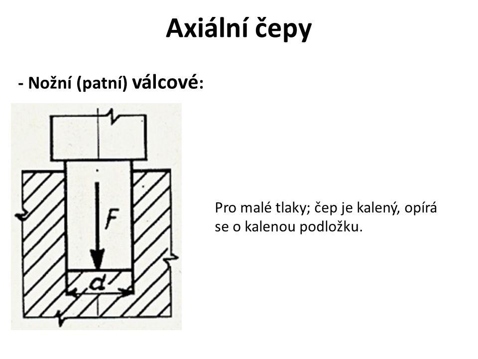 Axiální čepy - Nožní (patní) válcové : Pro malé tlaky; čep je kalený, opírá se o kalenou podložku.