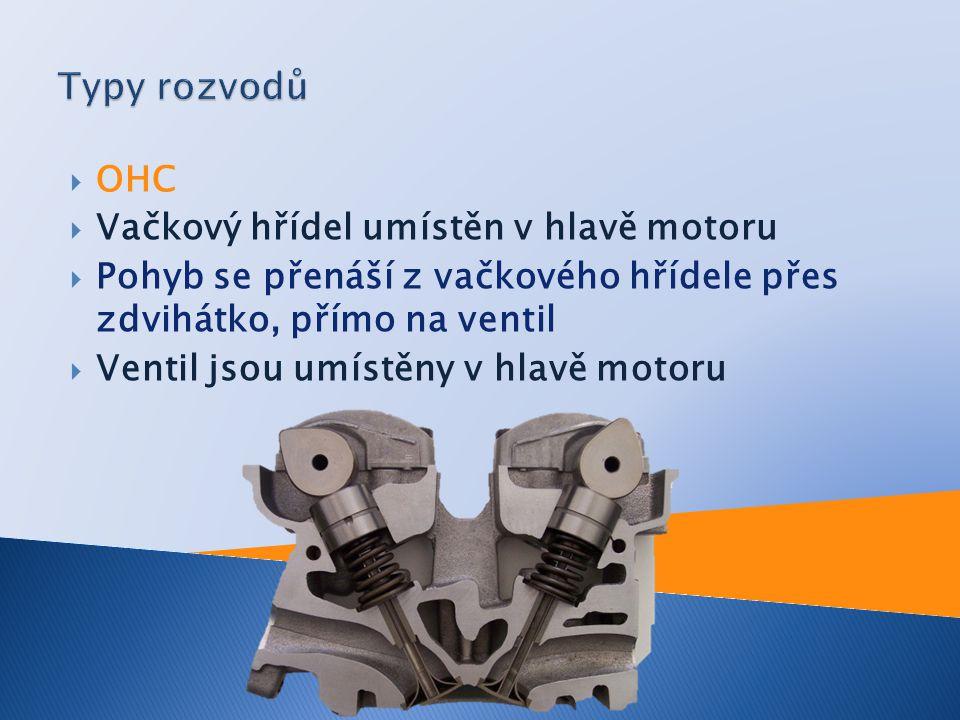  OHC  Vačkový hřídel umístěn v hlavě motoru  Pohyb se přenáší z vačkového hřídele přes zdvihátko, přímo na ventil  Ventil jsou umístěny v hlavě mo