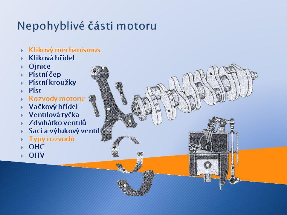  Klikový mechanismus:  Kliková hřídel  Ojnice  Pístní čep  Pístní kroužky  Píst  Rozvody motoru:  Vačkový hřídel  Ventilová tyčka  Zdvihátko ventilů  Sací a výfukový ventil  Typy rozvodů  OHC  OHV