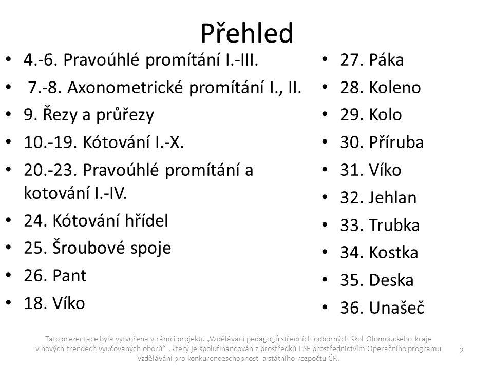 """Přehled - pokračování Tato prezentace byla vytvořena v rámci projektu """"Vzdělávání pedagogů středních odborných škol Olomouckého kraje v nových trendech vyučovaných oborů , který je spolufinancován z prostředků ESF prostřednictvím Operačního programu Vzdělávání pro konkurenceschopnost a státního rozpočtu ČR."""