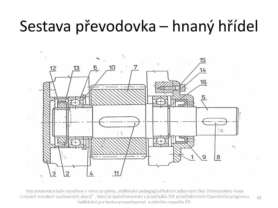 """Sestava převodovka – hnaný hřídel Tato prezentace byla vytvořena v rámci projektu """"Vzdělávání pedagogů středních odborných škol Olomouckého kraje v no"""