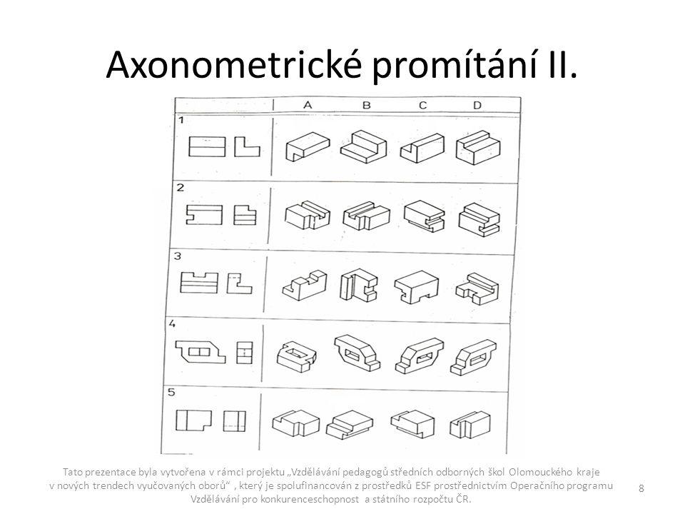 """Axonometrické promítání II. Tato prezentace byla vytvořena v rámci projektu """"Vzdělávání pedagogů středních odborných škol Olomouckého kraje v nových t"""