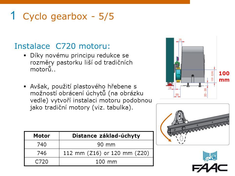 1 Cyclo gearbox - 5/5 Instalace C720 motoru:  Díky novému principu redukce se rozměry pastorku liší od tradičních motorů..  Avšak, použití plastovéh