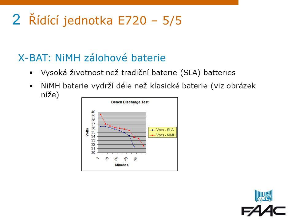 2 Řídící jednotka E720 – 5/5 X-BAT: NiMH zálohové baterie  Vysoká životnost než tradiční baterie (SLA) batteries  NiMH baterie vydrží déle než klasi
