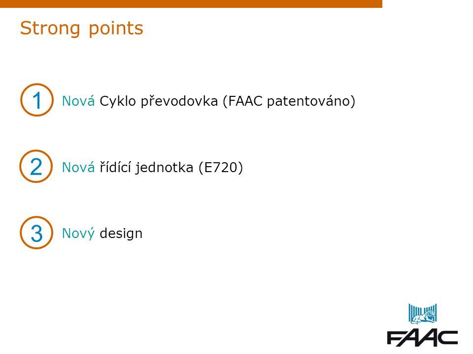 Strong points Nová Cyklo převodovka (FAAC patentováno) Nová řídící jednotka (E720) Nový design 1 3 2