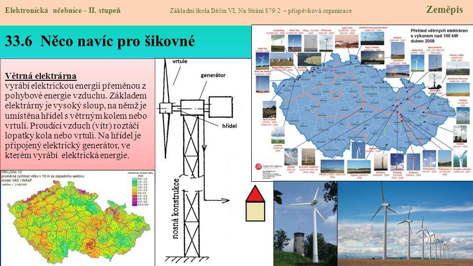 33.6 Něco navíc pro šikovné Elektronická učebnice - II. stupeň Základní škola Děčín VI, Na Stráni 879/2 – příspěvková organizace Zeměpis Větrná elektr