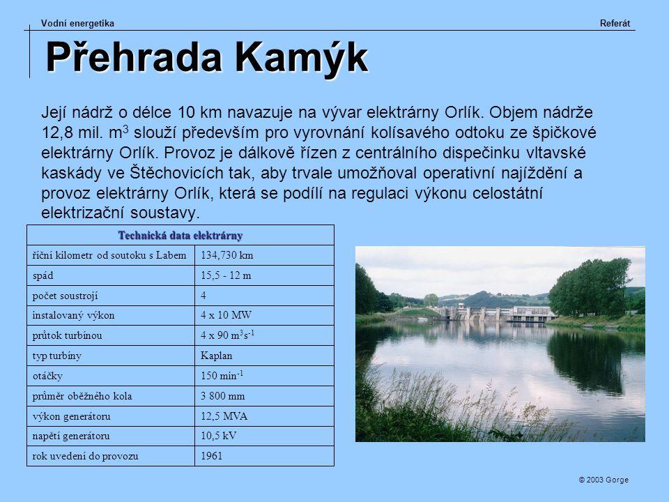 Vodní energetikaReferát © 2003 Gorge Přehrada Kamýk Její nádrž o délce 10 km navazuje na vývar elektrárny Orlík. Objem nádrže 12,8 mil. m 3 slouží pře