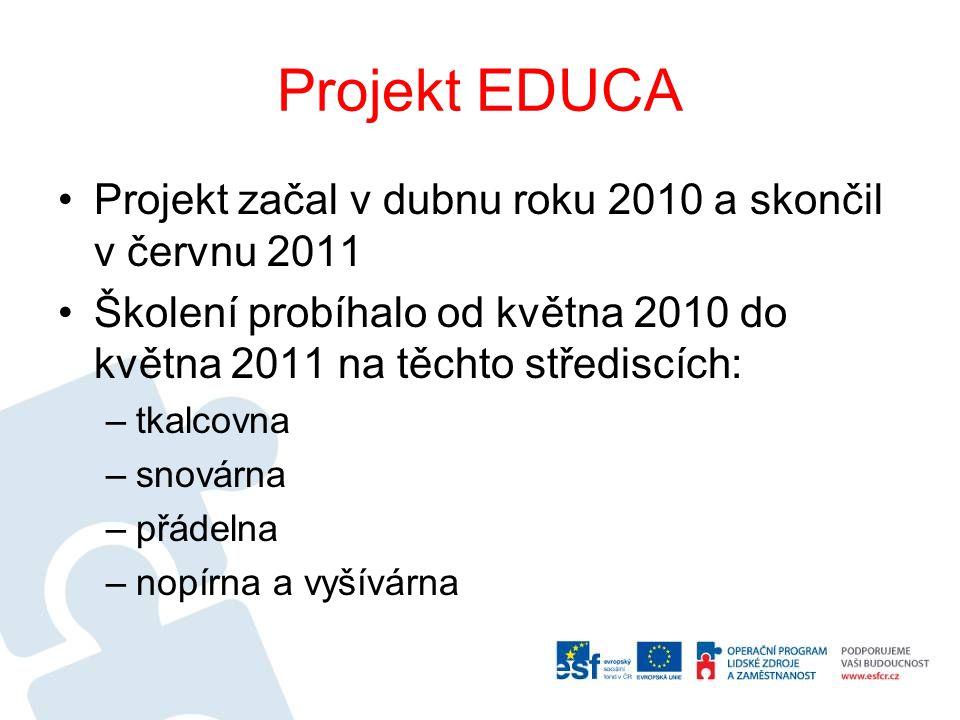 Projekt EDUCA Projekt začal v dubnu roku 2010 a skončil v červnu 2011 Školení probíhalo od května 2010 do května 2011 na těchto střediscích: –tkalcovna –snovárna –přádelna –nopírna a vyšívárna
