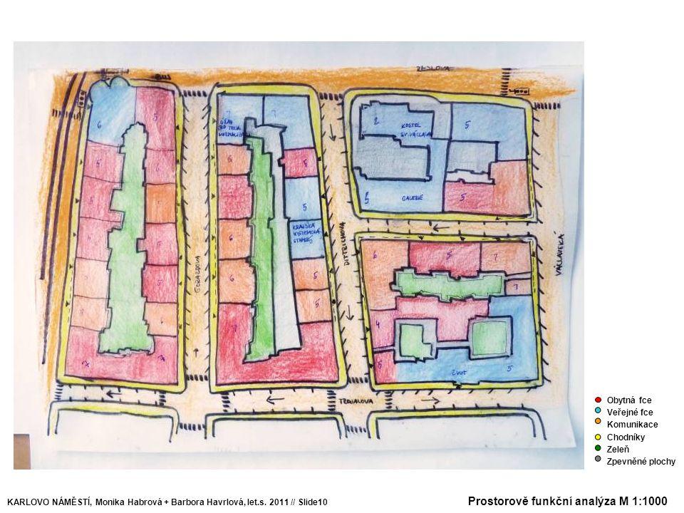 KARLOVO NÁMĚSTÍ, Monika Habrová + Barbora Havrlová, let.s. 2011 // Slide10 Obytná fce Veřejné fce Komunikace Chodníky Zeleň Zpevněné plochy Prostorově