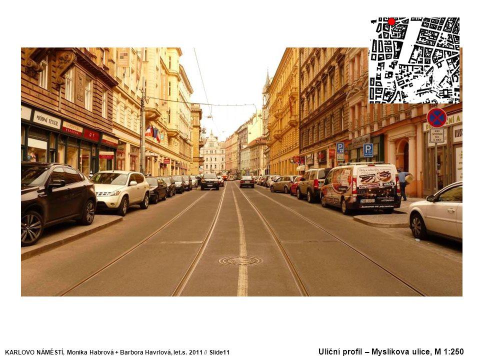 Uliční profil – Myslíkova ulice, M 1:250 KARLOVO NÁMĚSTÍ, Monika Habrová + Barbora Havrlová, let.s. 2011 // Slide11
