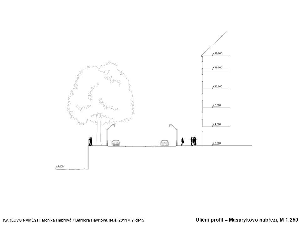 Uliční profil – Masarykovo nábřeží, M 1:250 KARLOVO NÁMĚSTÍ, Monika Habrová + Barbora Havrlová, let.s. 2011 // Slide15