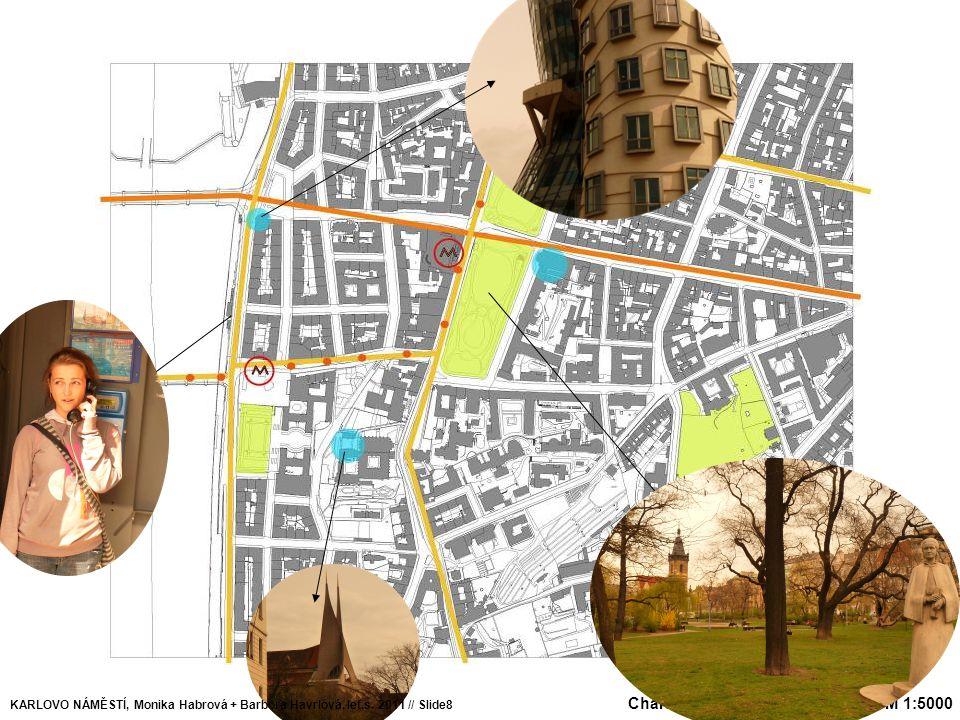 Doprava Zeleň Dominanta Budovy KARLOVO NÁMĚSTÍ, Monika Habrová + Barbora Havrlová, let.s. 2011 // Slide8 Charakteristické vlastnosti území M 1:5000