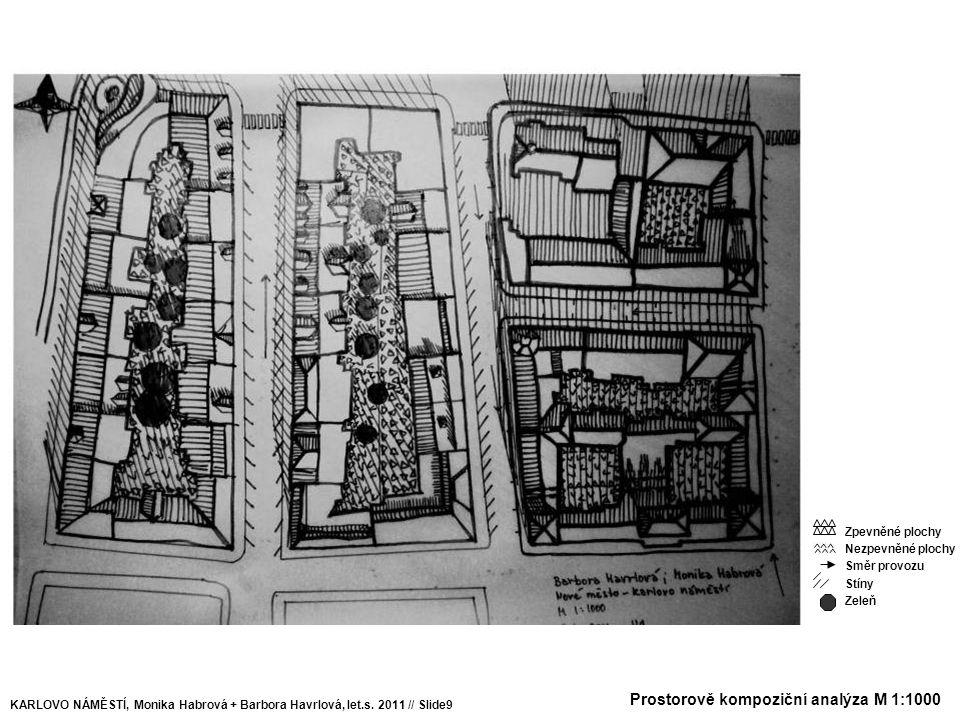 Prostorově kompoziční analýza M 1:1000 KARLOVO NÁMĚSTÍ, Monika Habrová + Barbora Havrlová, let.s. 2011 // Slide9 Zpevněné plochy Nezpevněné plochy Smě