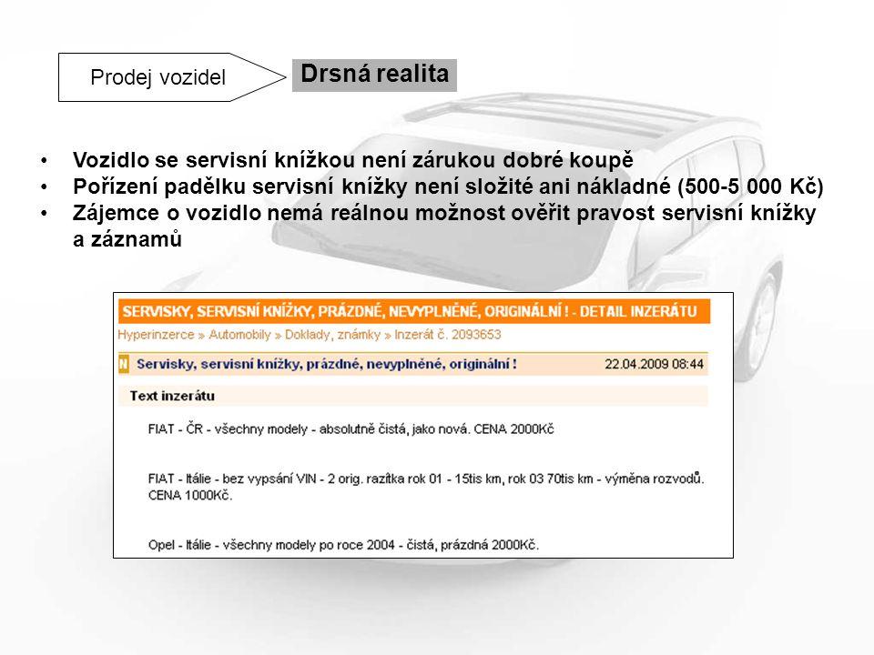 Prodej vozidel Drsná realita Vozidlo se servisní knížkou není zárukou dobré koupě Pořízení padělku servisní knížky není složité ani nákladné (500-5 00