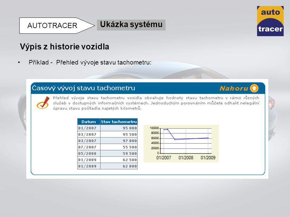 Příklad - Přehled vývoje stavu tachometru: Výpis z historie vozidla Ukázka systému AUTOTRACER
