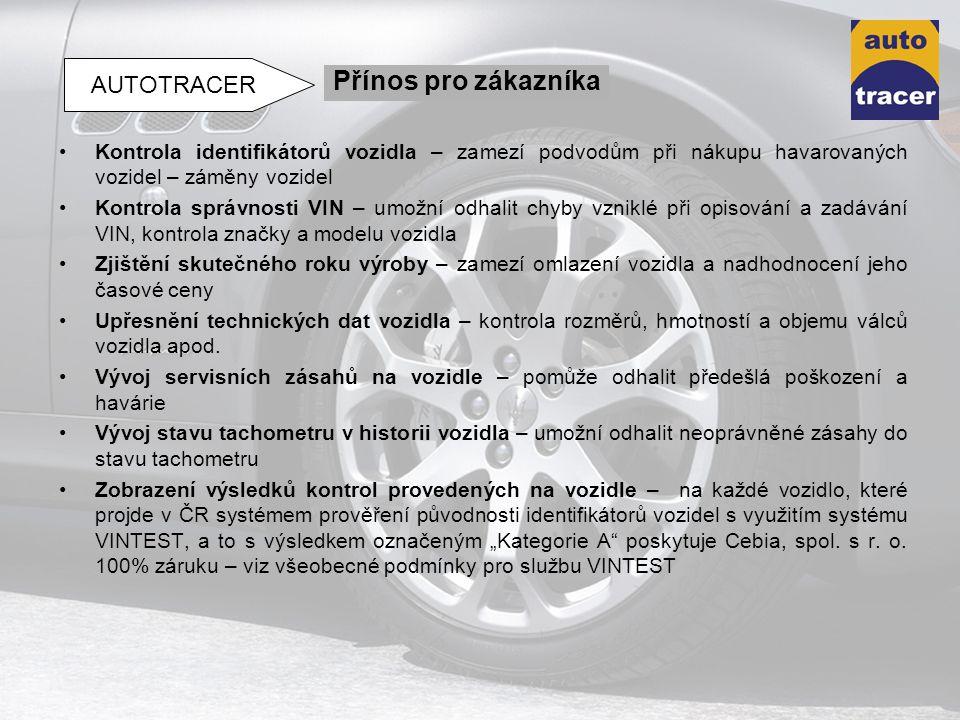 Kontrola identifikátorů vozidla – zamezí podvodům při nákupu havarovaných vozidel – záměny vozidel Kontrola správnosti VIN – umožní odhalit chyby vzni