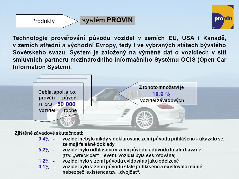 Produkty systém PROVIN Technologie prověřování původu vozidel v zemích EU, USA i Kanadě, v zemích střední a východní Evropy, tedy i ve vybraných státe
