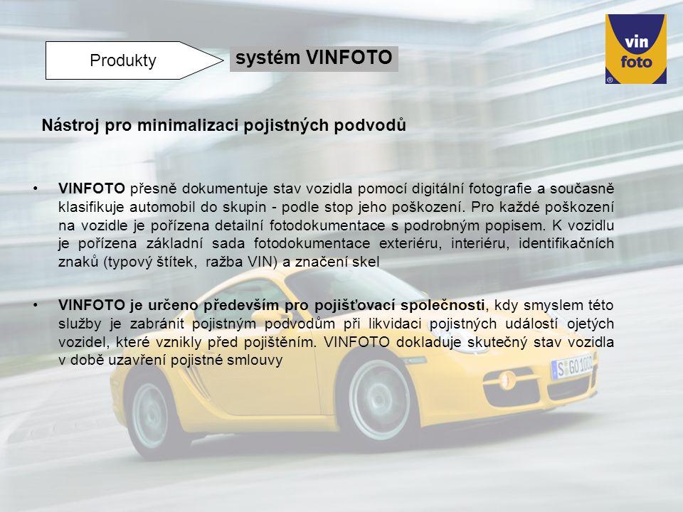 VINFOTO přesně dokumentuje stav vozidla pomocí digitální fotografie a současně klasifikuje automobil do skupin - podle stop jeho poškození. Pro každé