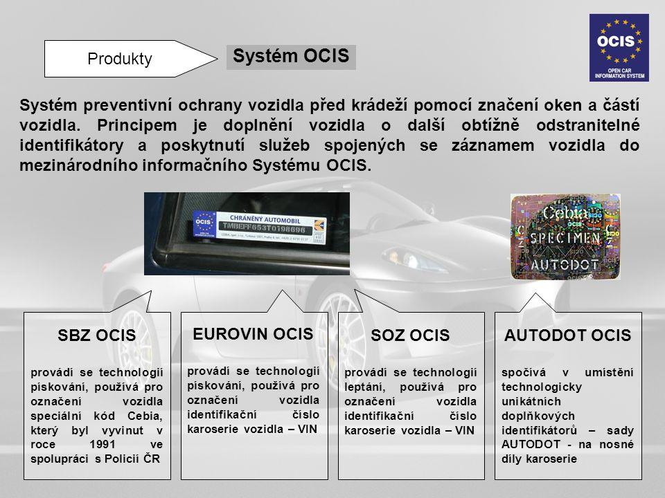 Produkty Systém OCIS Systém preventivní ochrany vozidla před krádeží pomocí značení oken a částí vozidla. Principem je doplnění vozidla o další obtížn