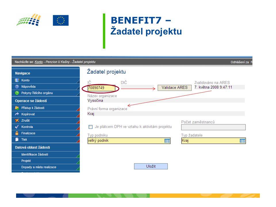 BENEFIT7 – Žadatel projektu