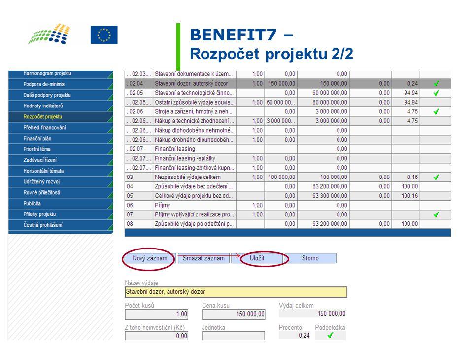 BENEFIT7 – Rozpočet projektu 2/2