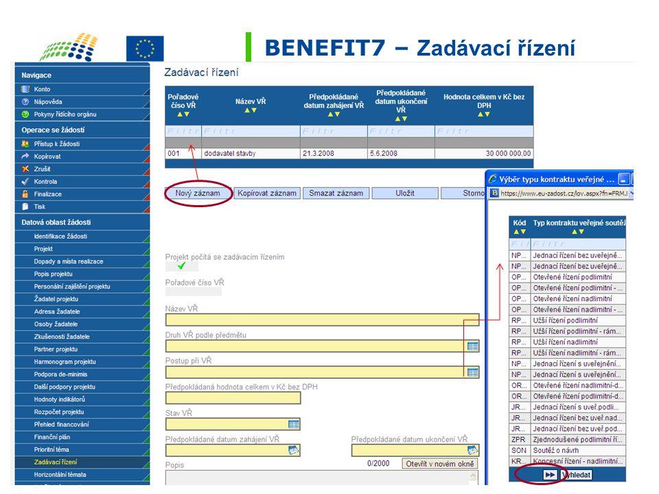 BENEFIT7 – Zadávací řízení