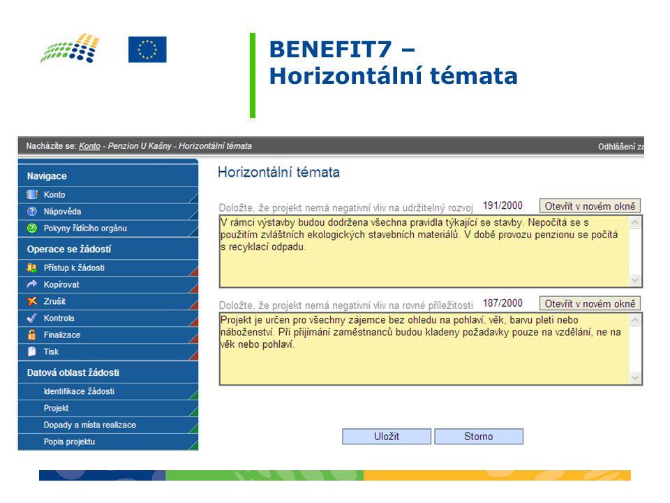 BENEFIT7 – Horizontální témata