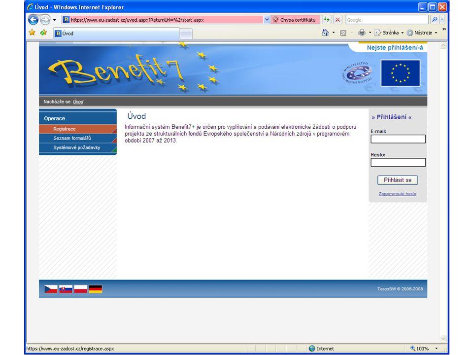 Žádost - povinné přílohy Žádost obsahuje: tištěný výstup elektronické žádosti vyplněné v programu BENEFIT7 (žádost je podepsána statutárním zástupcem, popř.